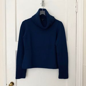 Burberry blue turtleneck chunky knit wool sweater